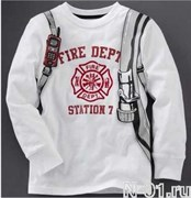 Детская пожарная футболка FIRE DEPT с длинным рукавом