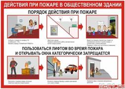 """Стенд 0111 """"Действия при пожаре в общественном здании"""""""