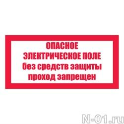 """Знак электробезопасности """"Опасное электрическое поле. Без средств защиты проход запрещен"""" - фото 3887"""